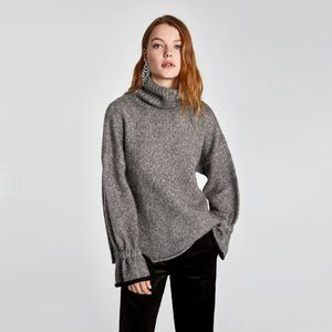 EUC Zara grey & black trim turtleneck bell sleeve sweater
